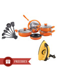 Birde 14 Pcs Non Stick Cookware Set With Free Travel Iron