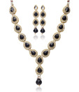 Adhira Tear Drop Black Stone Necklace Set
