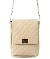 Butterflies Pretty Cream Quilted Sling Bag