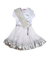 BIBA Cotton White Lehenga Choli with Dupatta For Kids