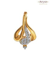 Avsar Gold & Diamond Designer Ribbon Shape Pendant with Free 3 gm Silver Coin