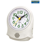 Rhythm Pearl White Round Table Clock