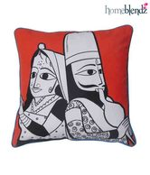 Homeblendz Kathputli Design Cotton Cushion Cover