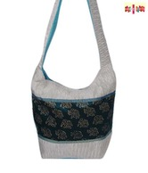 Hand-e-Crafts Black & Grey Elephant Block Print Sling Bag