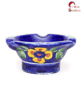 Home Sparkle Ceramic Blue Floral Ashtray