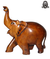 Ratoomal's Brown Wooden Twisted Trunk Elephant Showpiece