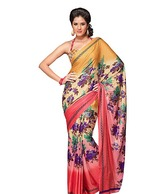 Aarika Beige-Pink Floral Printed Art Crepe Saree