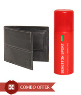 United Colors of Benetton Black Men's Wallet & Deodorant Combo