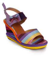 Nell Purple Bow Wedge Heel Sandals