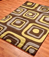 Ambadi Coffee Geometric Pattern Rug- Medium