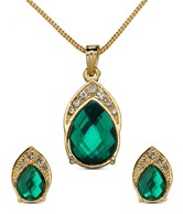 Oleva Faceted Pear Shape Green Stone Pendant Set