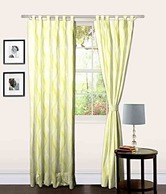 Brand Skipper Green Abstract Tab Top Curtain