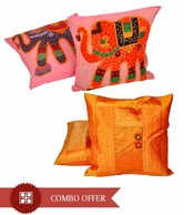Little India Embroidered Cushion Cover Set, Freebie- Colourful Cushion Cover Set