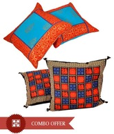 Little India Vibrant Cotton Cushion Cover Set, Freebie- Cushion Cover Set