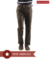 Wills Lifestyle Smart Brown Men's Trousers