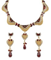 Adhira Glittering Abstract Design Red Drop Necklace Set