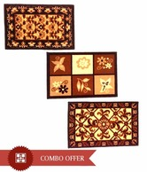 FabLooms Brown Floral Doormat Combo- Set Of 3