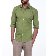Basics 029 Green Solid Shirt