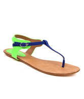 Carlton London Cobalt Blue & Green Flat Sandals