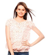Stilestreet Cream-Burnt Orange Polka Dots Cotton Top