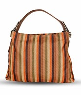 WalletsnBags Orange & Brown Stripped Handbag
