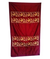 Nakalchee Bandar Maroon Embroidered Rod Pocket Curtain- Long Door