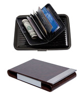 Essart Dark Brown Leather & Aluminium Card Holders Combo