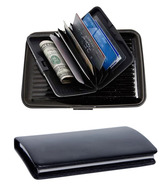 Essart Smooth Black Leather & Aluminium Card Holders Combo