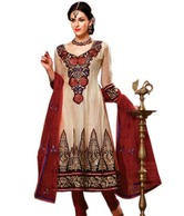 Prafful Cream-Rust Embroidered Unstitched Suit With Dupatta