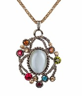 Addons Colourful Diamante & White Stone Studded Pendant