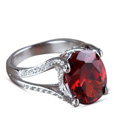 Rose Pretty Faceted Oval Synthetic Ruby Ring