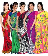 Aalya Gorgeous Printed Sarees Combo of 5