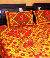 Kantha Kraft Motley Cotton Double Bed Cover & 2 Pillow Covers