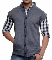 John Carry Dark Grey Woollen Sleeveless Jacket