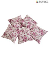 Swayam White & Pink Floral Print Cushion Cover Set (16x16 inches)
