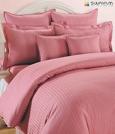 Swayam Pink Striped Bed Sheet Set