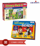 Creative's  Combo Of Let's Learn Math Skills With Beads & Literacy Pack III-Opposites