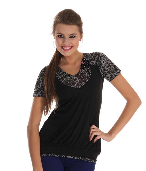 Sepia Black-Grey Printed Top