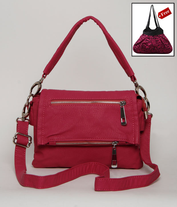A-progeny Dark Pink Zipper Sling Bag With Free Big Canvas Bag