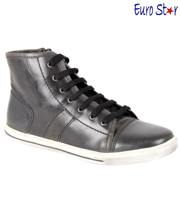 Euro Star Black High Ankle Length Shoes