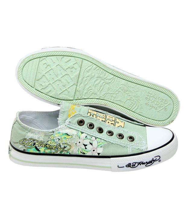 Ed Hardy Mint Floral Tattoo Canvas Shoes