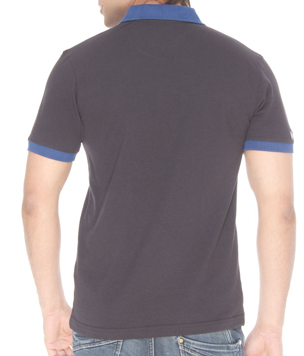 Punjabi Heritage Charcoal Grey-Blue Cotton T-Shirt