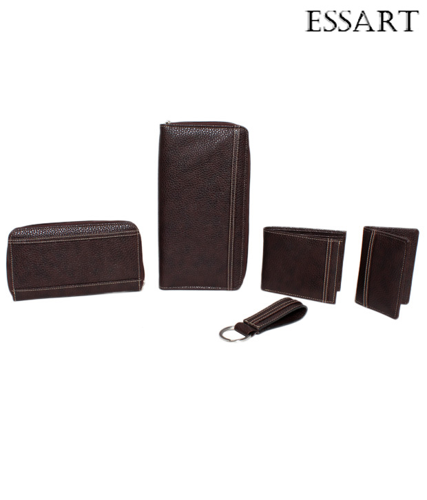 Essart Brown Ladies Wallet, Gents Wallet, Card Holder, Passport Case & Keychain Combo Set
