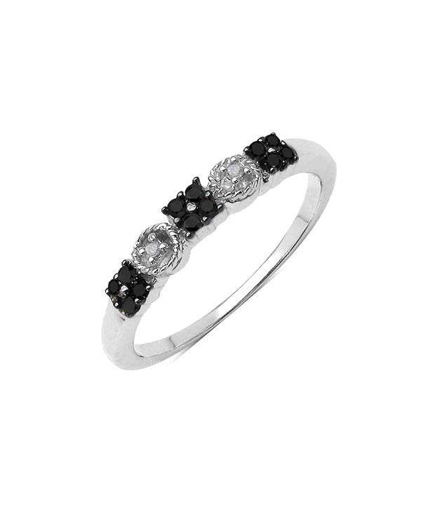 Johareez Genuine Black & White Diamond Ring