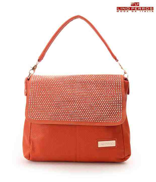 Lino Perros Orange Textured Metal Rivets Handbag