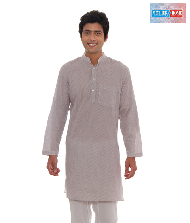 Mother Home Light Brown Striped Kurta