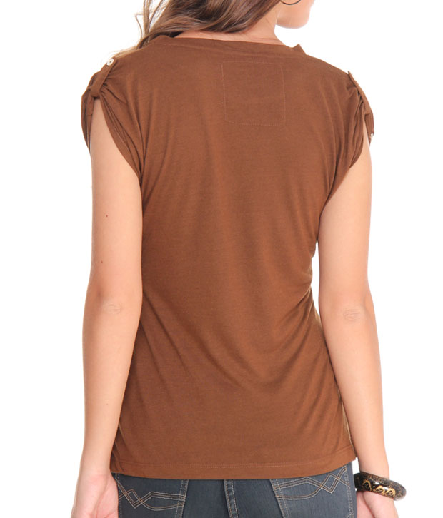 Sepia Beautiful Brown Printed Top