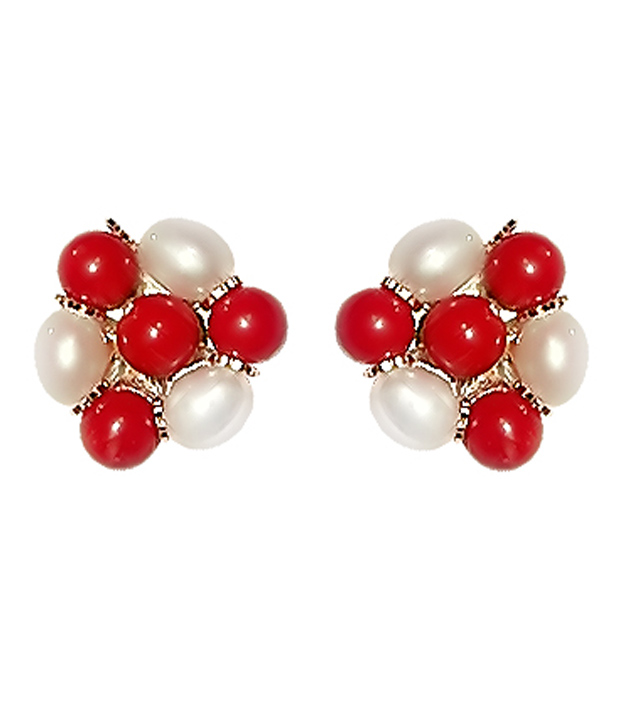 Niharikaa Red Bead& Pearl Set
