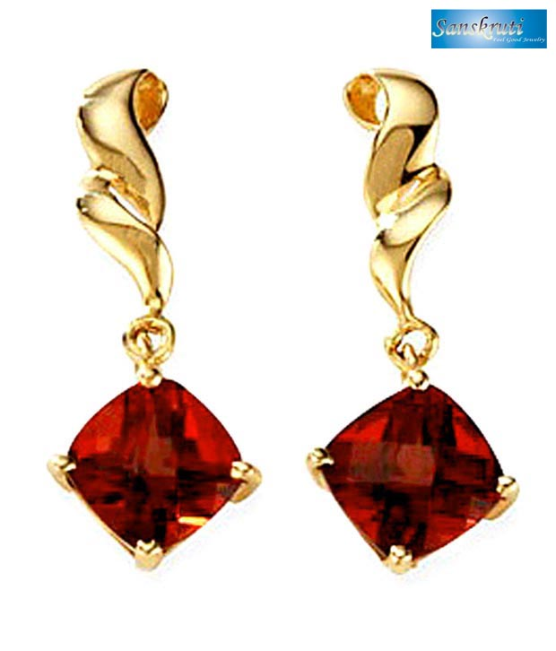 Sanskruti Yellow Gold Ruby Earrings