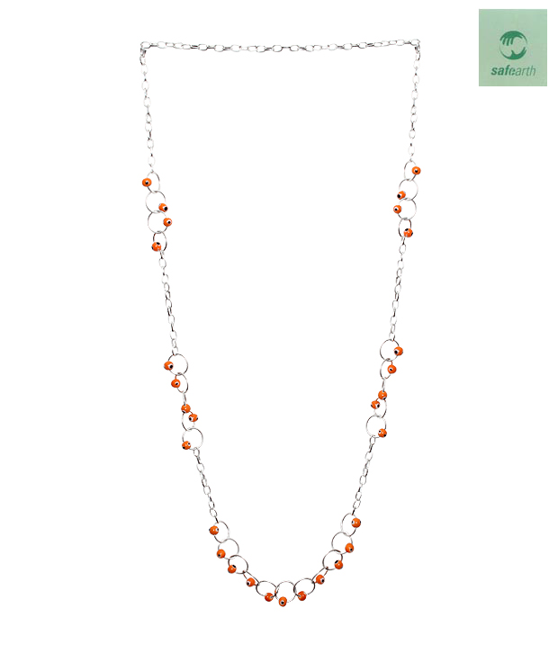 Safe Earth Striking Orange & Silver Necklace